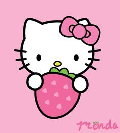 Hello Kitty with strawberry image Hello Kitty My Melody, Hello Kitty Items, Sanrio Hello Kitty, Sanrio Wallpaper, Hello Kitty Wallpaper, Sanrio Characters, Cute Characters, Anniversaire Hello Kitty, Goodbye Kitty