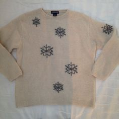 Womens Large 14-16 Lands End Sweater Christmas New Years Snow Flake Ivory Creme #LandsEnd #sweaters #christmas