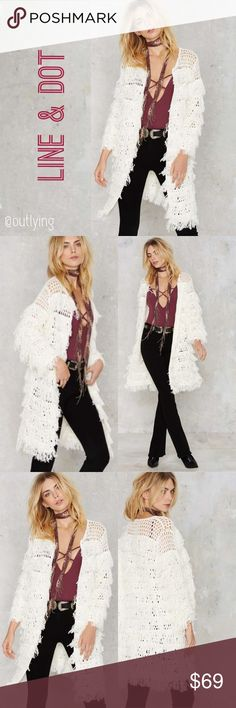 LINE and DOT Fringe Shag Duster Cardigan Line and Dot Fringe Sweater Cardigan Retail Price: $148 Size: O/S (XS to M fits best) NWT  Fun piece to throw over a dress or a thermal and jeans. Boho chic perfection! The Marie Cardigan by Line & Dot comes in white cable knit and features a duster cardigan silhouette, round neckline, and fringe tassel detailing throughout.  *Acrylic  *One size  *Dry clean only Line & Dot Jackets & Coats