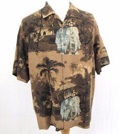 Tommy Bahama Hawaiian Shirt Large Elephant India Palace Bikini Martini Loop Camp #TommyBahama #Hawaiian