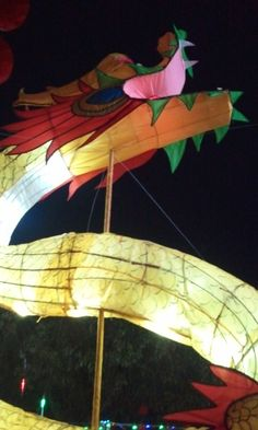 Yangshuo, China--a giant dragon lantern in the Old Park on Lantern Festival night.