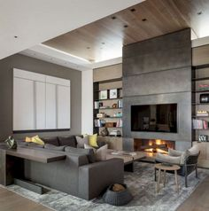 Inspiring Incredible Contemporary Fireplace Design Ideas - Page 10 of 51 Fireplace Tv Wall, Fireplace Remodel, Modern Fireplace, Living Room With Fireplace, Living Room Decor, Linear Fireplace, Contemporary Fireplace Designs, Contemporary Interior Design, Modern Contemporary