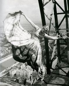 Lisa Fonssagrives on the Eiffel Tower for Vogue Magazine, 1939 ~ Erwin Blumenfeld