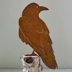 Elegant Garden Design Handmade /Rusted Steel Raven Silhouette