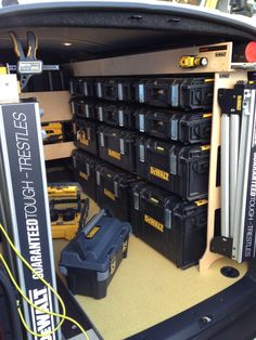 Dewalt Tough Box racking for a van Tools In Action Forum. Dewalt Storage, Van Storage, Tool Storage, Storage Shelves, Locker Storage, Storage Ideas, Shelving Ideas, Trailer Shelving, Van Shelving
