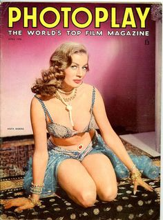 Photoplay Magazine 1956 Film Magazine Gorgeous Anita Ekberg Cover + all these stars !!!  Dani Crayne, Mona Freeman, Pat Crowley, Frank & Nancy