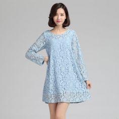 95bce3db15e MY872 Plus size sweet lace A-line slim long sleeve dress blue  MY872  -   24.00   China
