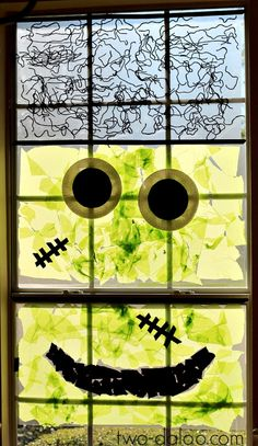 Turn your window into a giant Frankenstein monster with a fun collage activity that even toddlers can participate in.