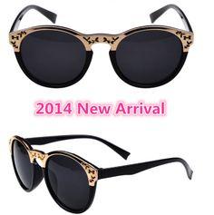 2014 New Arrival Fashion Brand womens vintage sunglasses Letter H Design retro round sun glasses for women gafas oculos de sol $198,25