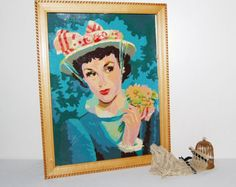 Vintage Paint by Numbers Pretty  Girl with Bouquet