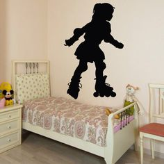 Wall Decals Baby Girl Kid Roller Skater Skating People Home Vinyl Decal Sticker Kids Nursery Baby Room Decor kk500 by DecalMyHappyShop on Etsy https://www.etsy.com/listing/206676929/wall-decals-baby-girl-kid-roller-skater