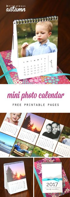 Fabulous DIY gift idea! Mini 2017 photo calendars. Free printables that you can customize with your own photos for a cheap and easy gift. Great Christmas gift idea for family or friends! Diy Gift For Bff, Diy Gifts For Friends, Diy Gifts For Kids, Easy Diy Gifts, Free Friends, Grandparent Photo, Grandparent Gifts, Diy Calendar, Photo Calendar