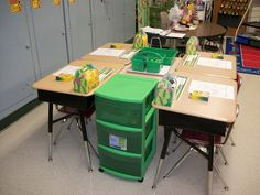 Great for student desk clusters.  {image only} Storage bins for student supplies in each area instead of locating them in one congested area. great for classroom flow during activities!