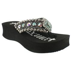a9a1dff275e3d1 Gypsy Soule Women s Lotus Swarovski Crystal Wedge Sandals Cowgirl Bling