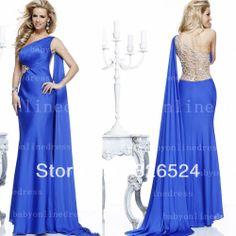 Fahsion evening dress 2014 V -neck lone shoulder crossback blue  Long sexy  prom dress Evening formal dress TE92232 $187.00