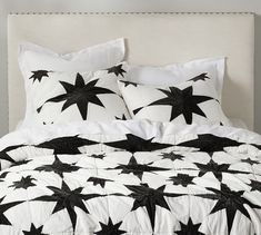 The Emily & Meritt North Star Velvet Patchwork Quilt & Sham from Pottery Barn Emily And Meritt, Stylish Beds, Applique Fabric, Cotton Velvet, Bedding Shop, Cotton Quilts, Pottery Barn, Bed Pillows, Star