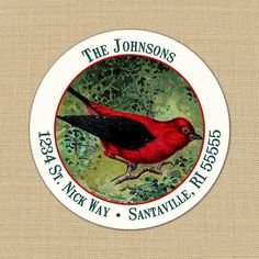 Christmas Bird - CUSTOM Christmas Address Labels or Stickers by PoshGirlBoutique