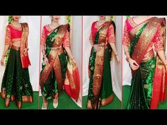 SILK SAREE DRAPING IN FOUR TRADITIONAL BRIDAL STYLES|BRIDAL SAREE DRAPING|WEDDING SERIES-PART 7 - YouTube Saree Wearing Styles, Saree Styles, Drape Sarees, Silk Sarees, Beautiful Saree, Beautiful Dresses, Party Hairstyles For Girls, Half Saree Designs, Blouse Designs