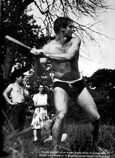 Marlon Brando playing baseball on an Actors Studio picnic, c. 1948.