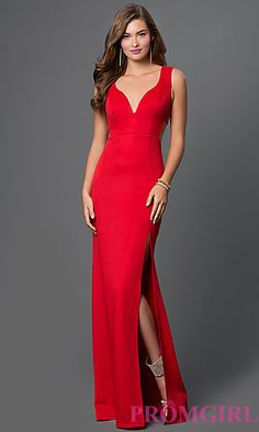 Red Floor Length Sleeveless Dress with Side Cut Outs by Emerald Sundae at PromGirl.com