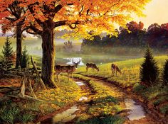 """Shop American Expedition Jigsaw Puzzles - """"A Bend in the Road"""" 1000 Piece Deer Puzzle - Gather the family for a new wildlife puzzle Wildlife Paintings, Wildlife Art, Landscape Paintings, Gustav Klimt, Deer Wallpaper, The Road, Country Scenes, Realism Art, Autumn Art"""