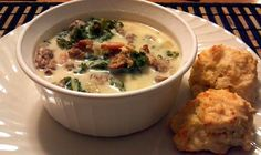 """This is a Copycat recipe for the Zuppa Toscana soup at Olive Garden. I used maple turkey bacon, Perdue Turkey Italian sausage (already cooked), and FF evaporated milk instead of heavy cream. I also reduced the water because I don't like my soup to be too """"soupy"""". VERY DELICIOUS!"""