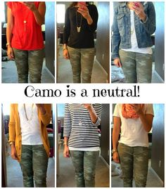 Styling ideas for my new camo Jeans. Who knew camo was a neutral? Camo Jeans Outfit, Sweater Outfits, Outfits With Camo Pants, Joggers Outfit, Camo Dress, Casual Fall Outfits, Fall Winter Outfits, Cute Outfits, Girly Outfits
