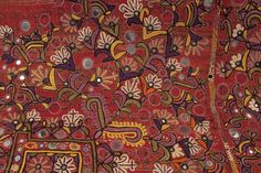 """Man's wedding shawl (doshalo). Rajasthan, India. Meghwar leather workers caste. Ajrakh vegetal dye blockprint with silk embroidery. Mid-20th century. 41"""" wide by 96"""" long (104 by 244 cm)."""