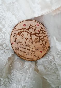 This save the dates are made from wood. They are a great addition to your wedding or special occasion. Material