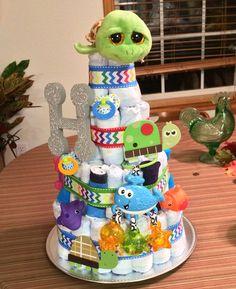 Primary color/sea animal diaper cake