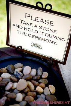 This is great for beach weddings - after the couple are married - everyone then together throws their stone into the sea at once - along with their good wishess