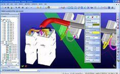 """Одно из старых изображений """" Cabling """" от 2007 года, показывающее работу """" Cabling """" с OneSpace Designer. На рисунке показано, как можно визуализировать реальный диаметр кабеля, чтобы увидеть толщину кабеля и соответствующие параметры (местоположение, радиус изгиба, возможности нагрева и т.д.). Использование решений 3D Cabling позволяет инженерам полностью виртуально разработать дизайн, вместо того, чтобы строить прототипы, а затем прокладывать кабели через законченную машину…"""