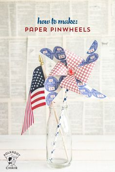Cute tutorial on how to make a pinwheel using a paper straw. Great craft idea to decorate for the 4th of July.