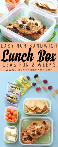 Apple Pizza lunch box idea for kids! Just one of 2 weeks worth of non-sandwich school lunch ideas that are fun, healthy, and easy to make! Grab your lunch bag or bento box and get started!