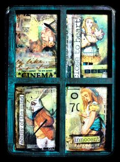 Supplies to make this ATC are all by Retro Cafe Art Gallery: ATC wooden frame, Alice in Wonderland Collage Sheet, and washi tapes of vintage writing and cinema