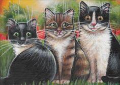 Black, Tuxedo & Brown Tabby Cat Painting