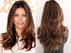 Brunette Balayage for Thick Hair - 50 Cute Long Layered Haircuts with Bangs 2019 - The Trending Hairstyle Medium Hair Styles, Curly Hair Styles, Thick Long Hair Styles, Long Layered Haircuts, Layered Long Hair, Hair Long Layers, Layered Hairstyles, Long Layer Hair, Long Choppy Layers
