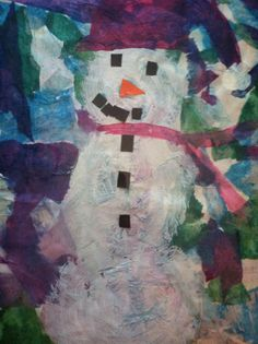 Maggie - Age 7. Try shaving cream paint for snowman to make him more opaque over the tissue paper background