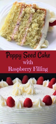 What do you do when you are craving Raspberry Poppy Seed Cake with filling? Well, you make one!!! If you do not care for the raspberry filling, just go ahead and put frosting in between the layers. I did make a butter cream frosting to frost the cake, but you are welcome to use any kind of frosting that you desire. You can also make Two 9″ cakes, or I used Three 8″ cake pans. I did make the center layer slightly thinner than the other two, as I feel that they stack better this wa