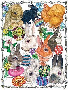 Jan Brett artwork  Easter Bunnies