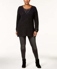 Style & Co Plus Size Lace-Up Tunic Sweater, Created for Macy's - Black 1X