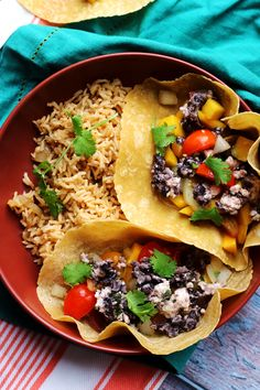 Crispy Black Bean Tacos with Mango Pico de Gallo from Eats Well With Others