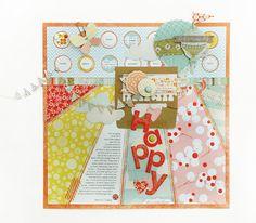 Happy scrapbook layout by Kelly Goree