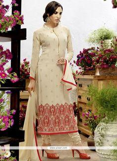 Flawless Georgette Cream Resham Work Churidar Designer Suit Model: YOS8413