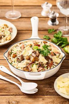 Poêlée de riz au rôti de porc, pommes de terre et champignons