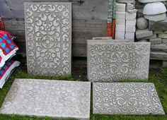Beautiful stepping stones made from concrete and plastic door mats . . .