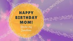 A bright purple background with illustrations of love hearts and a yellow textbox displaying a birthday message.