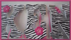 Zebra Nursery or Bedroom wall letters Flowers Pink by dmh1414, $12.50