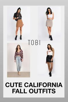 Cute California fall outfits and trendy autumn fashion trends for women from TOBI. The best place to buy affordable trendsetting edgy clothing and attire like these cute skirts and tops for ladies. Shop top fall fashion trends for teens, women, and juniors. #shoptobi #fallfashion #falltrends #falloutfits #autumnfashion #womensfashion #californiafashion #fashiontrends