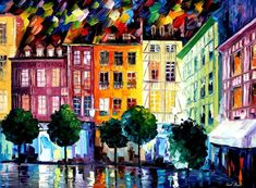 Rouen-france - Palette Knife Oil Painting On Canvas By Leonid Afremov Oil Painting Texture, Oil Painting On Canvas, Painting Art, City Painting, Canvas Paintings, Oil Painting Reproductions, Leonid Afremov Paintings, Modern Wall Art, Painting Techniques